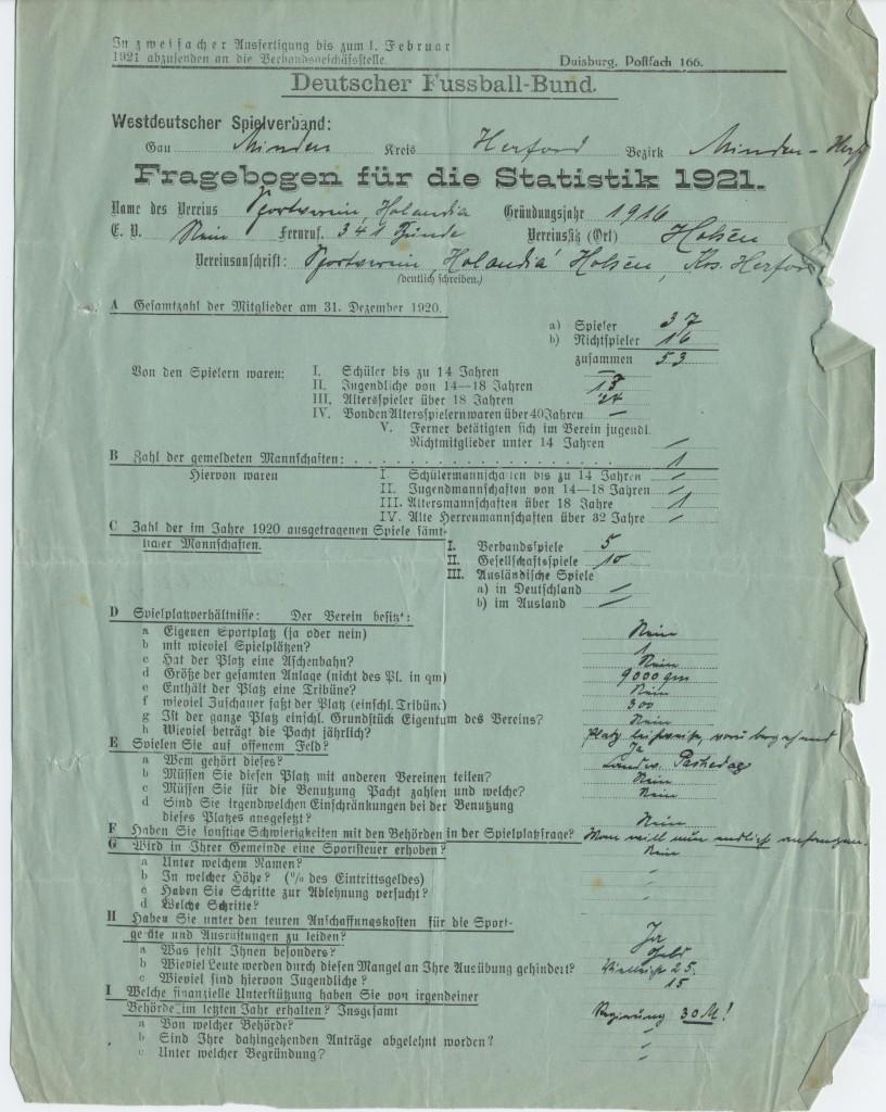 Auch 1921 mussten die Mannscahften beim DFB gemeldet werden