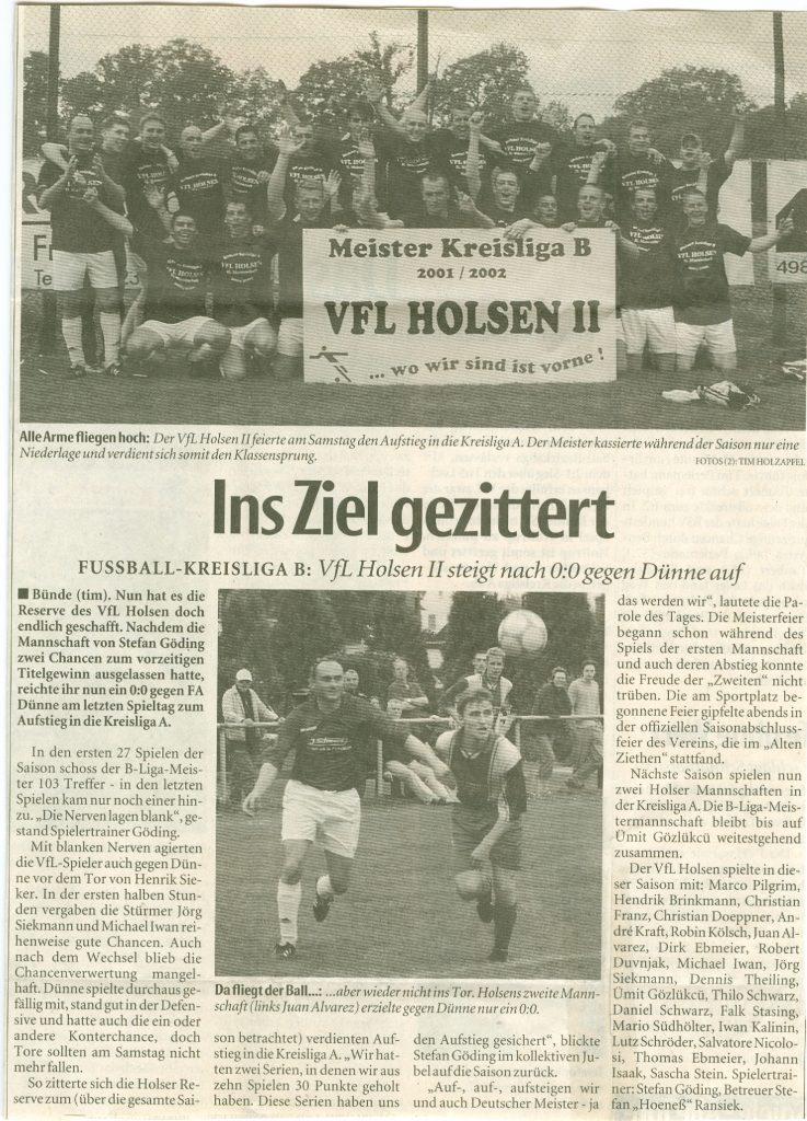 Aufstieg Zweite in KLA 2002