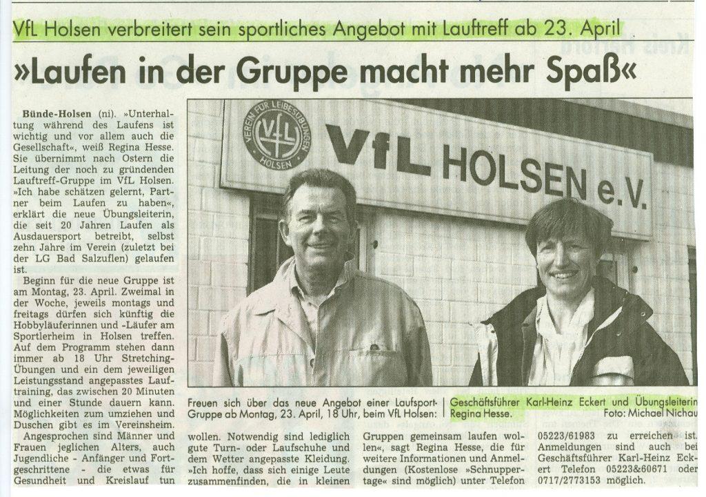 Gründung Lauftreff 23.04.2001